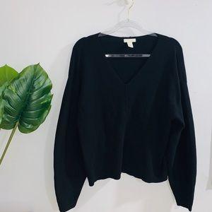 H&M Black Heavy Comfy Vneck Sweater Small-Medium